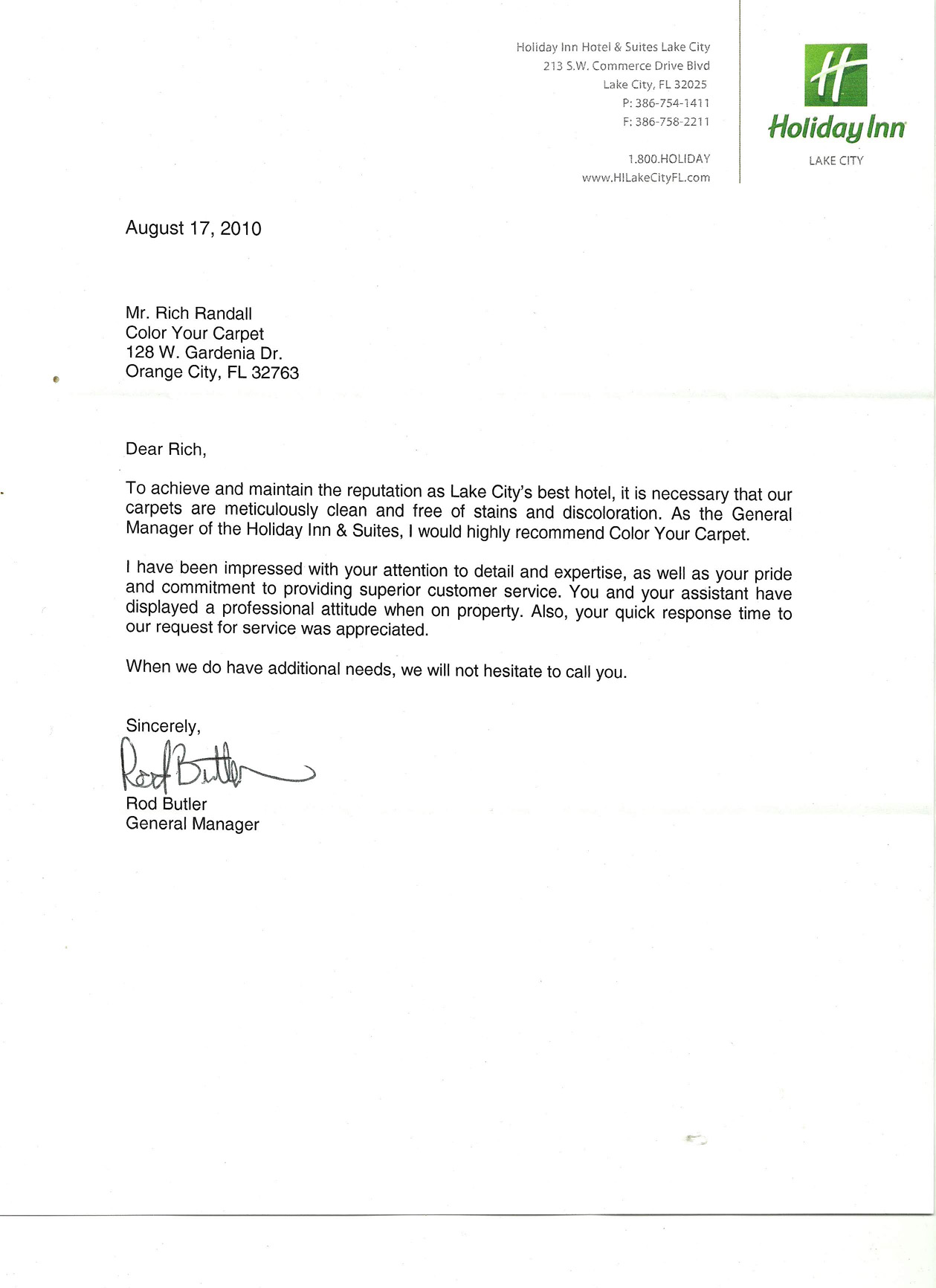 Color Your Carpet   Carpet Dyeing Expert  Holiday Inn Gm Letter